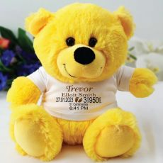 Personalised Baby Birth Details Teddy Bear Yellow