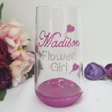 Flower Girl Tumbler Glass 400ml Hand Painted Glittered