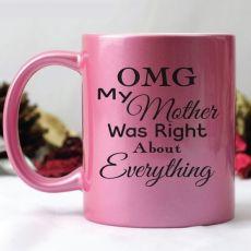 Novelty Mum Pink Metallic Personalised Coffee Mug