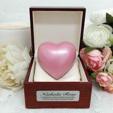 Baby Memorial keepsake Urn For Ashes Pink Heart