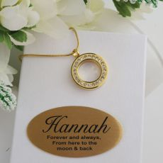 Gold Circle Pendant Memorial Cremation Urn Necklace In Personalised Box