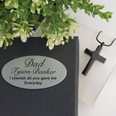 Black Cross Memorial Urn Cremation Ash Necklace in Personalised Box