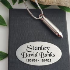 Bullet Memorial Urn Necklace In Personalised Box