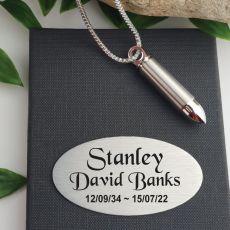 Bullet Memorial Urn Necklace In Personalised Box