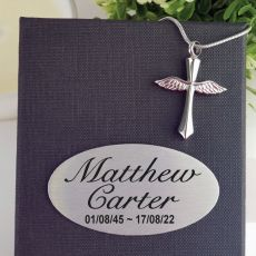 Cross Memorial Urn Cremation Ash Necklace In Personalised Box