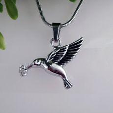 Silver Bird Urn Cremation Ash Necklace