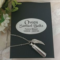 Angel Wing Charm Memorial Urn Necklace in Personalised Box