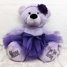 Personalised Ballerina Teddy Bear 40cm Plush Lavender