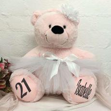 21st Birthday Ballerina Teddy Bear 40cm Light Pink