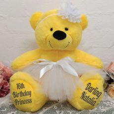 16th Birthday  Ballerina Teddy Bear 40cm Plush Yellow
