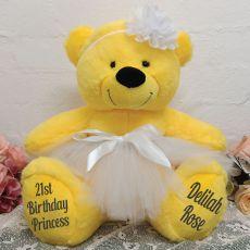 21st Birthday  Ballerina Teddy Bear 40cm Plush Yellow