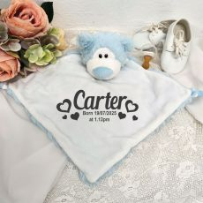 Personalised Baby Security Comforter Blanket - Blue Bear