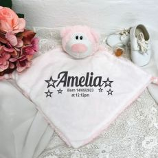 Personalised Baby Security Comforter Blanket - Pink Bear