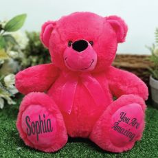 Personalised Message Bear 30cm Hot Pink