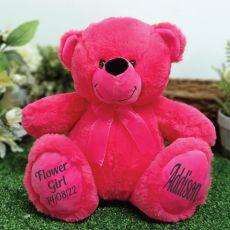 Flower Girl Teddy Bear 30cm Hot Pink