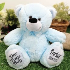 Page Boy Teddy Bear 30cm Light Blue