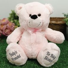 Personalised Message Bear 30cm Light Pink