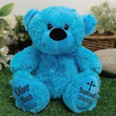 Baptism Personalised Teddy Bear 30cm Bright Blue