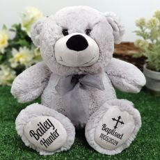 Baptism Personalised Teddy Bear 30cm Grey