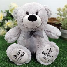 Christening Personalised Teddy Bear 30cm Grey