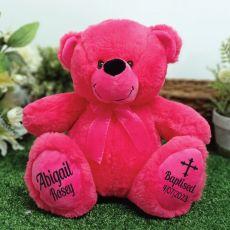 Baptism Personalised Teddy Bear 30cm Hot Pink