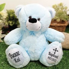 Baptism Personalised Teddy Bear 30cm Light Blue