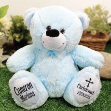 Christening Personalised Teddy Bear 30cm Light Blue