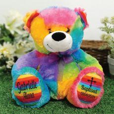 Baptism Personalised Teddy Bear 30cm Rainbow