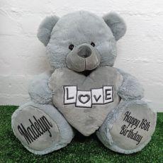 16th Birthdaye Bear With Grey Heart 40cm