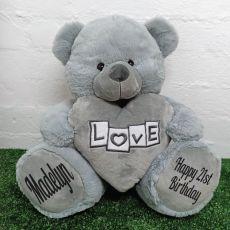 21st Birthday Bear With Grey Heart 40cm