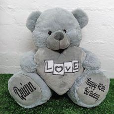40th Birthday Love Bear With Grey Heart 40cm