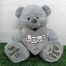 Anniversary Love Bear With Grey Heart 40cm