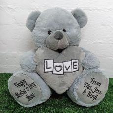 Mum Love Bear With Grey Heart 40cm