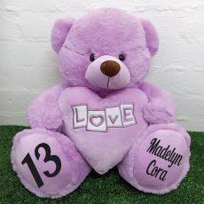 13th Birthday Love Bear With Heart 40cm Lavender