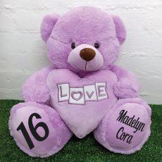 16th Birthday Love Bear With Heart 40cm Lavender