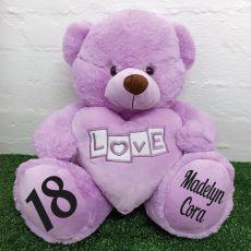 18th Birthday Love Bear With Heart 40cm Lavender