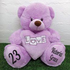 Birthday  Love Bear With Heart 40cm Lavender