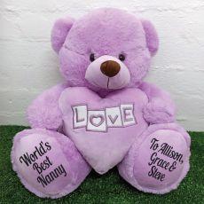 Nana Love Bear With Heart 40cm Lavender