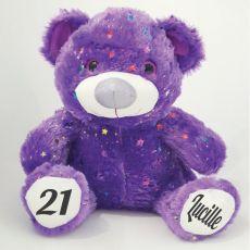 21st Birthday Teddy Bear 40cm Hollywood- Purple