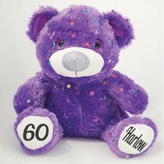 60th Birthday Teddy Bear 40cm Hollywood- Purple