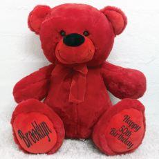 50th Birthday Teddy Message Bear 40cm Plush Red