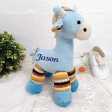 Personalised Giraffe Rattle Blue 23cm