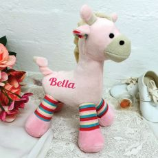Personalised Giraffe Rattle Pink 23cm