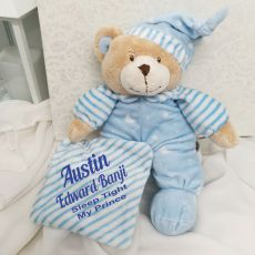 Personalised Baby Boy Bear Cuddles Blue