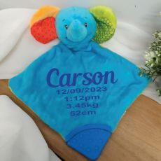 Personalised Blue Elephant Baby Rattle & Teether