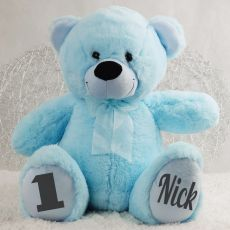 Personalised 1st Birthday Teddy Bear 40cm  - Light  Blue