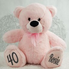 Personalised 40th Birthday Teddy Bear 40cm -Light Pink