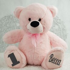Personalised 1st Birthday Teddy Bear 40cm  - Light Pink