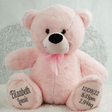 Girl Birth Details Personalised Teddy Bear 40cm Plush