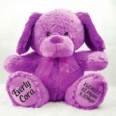 Baby Birth Details Sam the Dog Bear - Lavender